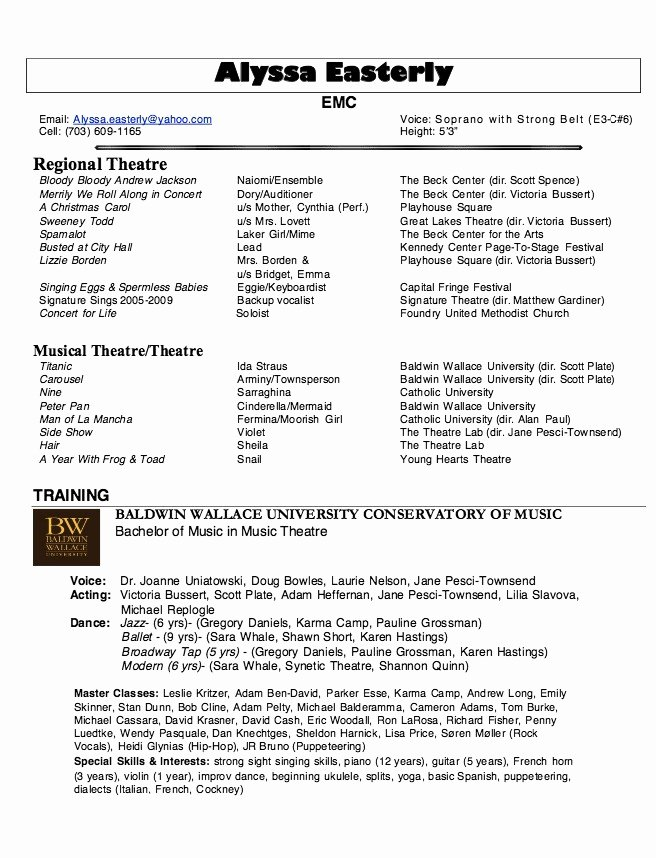 Theatre Resume Template Google Docs Beautiful Musical theatre Resume Dandilyonfluff