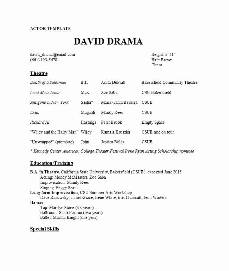Theatre Resume Template Google Docs Best Of 50 Free Acting Resume Templates Word & Google Docs Template Lab