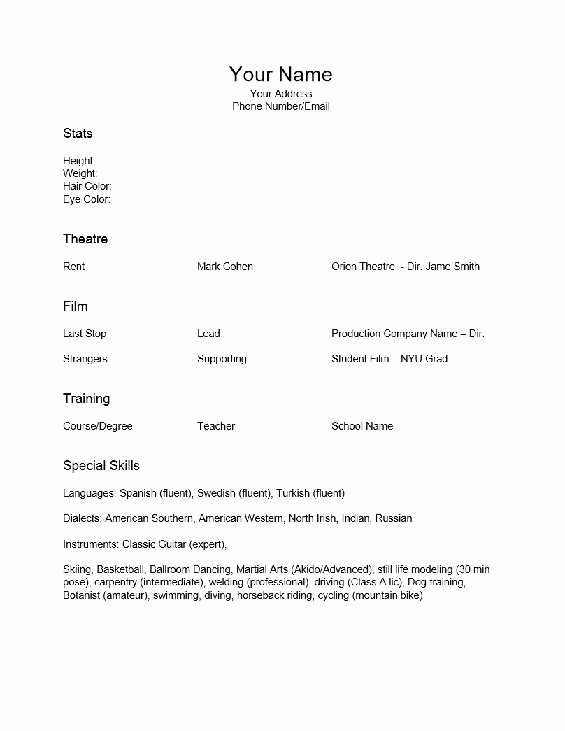Theatre Resume Template Google Docs Elegant Special Skills Acting Resume Template Resume Templates