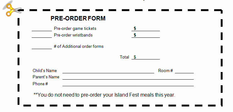 Ticket order form Template Beautiful Field Pto island Fest is Thursday April 21 order Tickets now