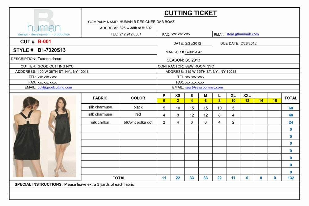 Ticket order form Template Fresh Cutting Ticket form — Human B