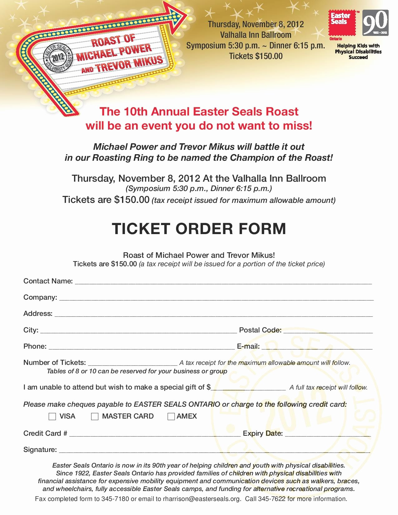 Ticket order form Template Unique Roast Ticket order form Page 001