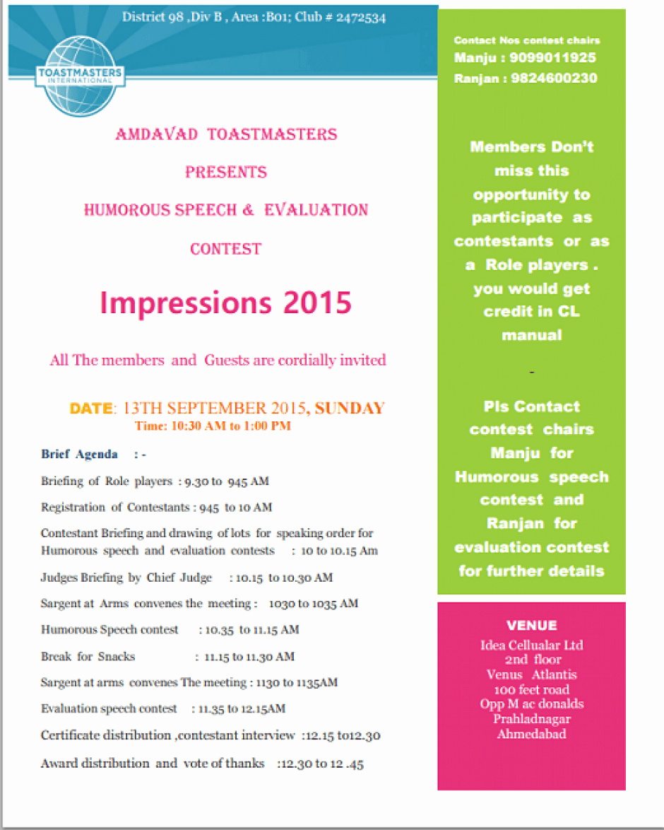 Toastmasters Speech Evaluation form Elegant Impressions 2015 toastmasters Humorous Speech and Speech Evaluation Contest at Idea Cellular