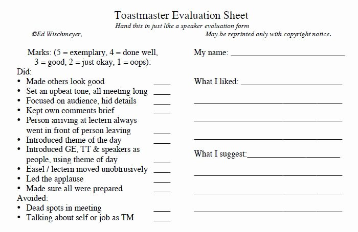 Toastmasters Speech Evaluation form Elegant toastmaster Evaluation Template – 20 Free Word Pdf Documents Download