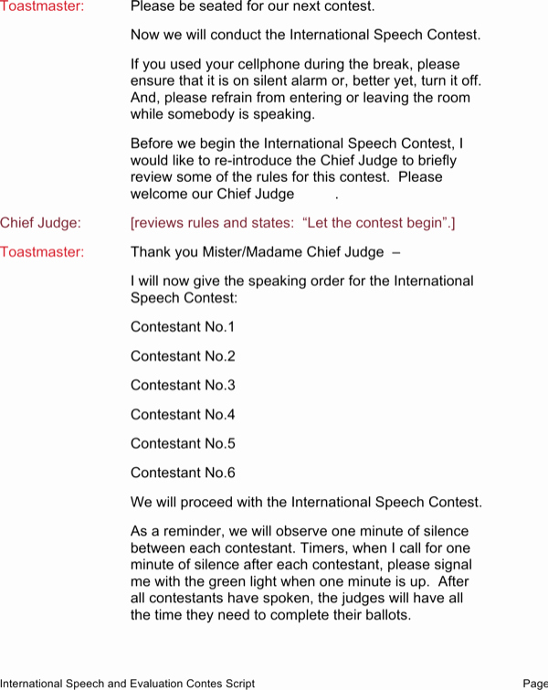 Toastmasters Speech Evaluation form Inspirational Download International toastmasters Speech and Evaluation Contest Word Download for Free
