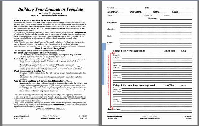 Toastmasters Speech Evaluation form Lovely Speech Evaluation Template – Bob Gergen