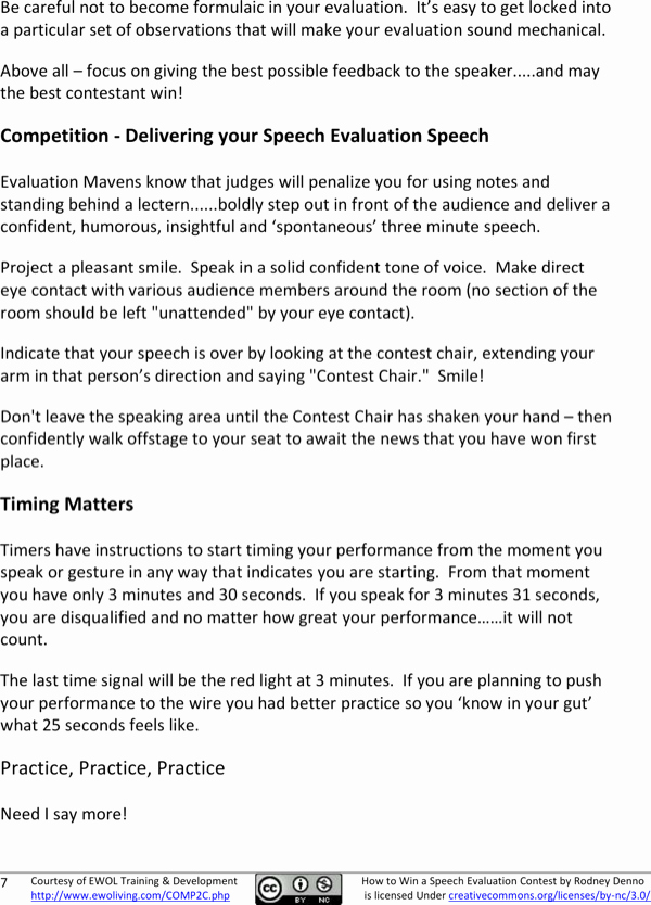 Toastmasters Speech Evaluation form Unique Download Winning the toastmasters Speech Evaluation Contest Pdf Download for Free