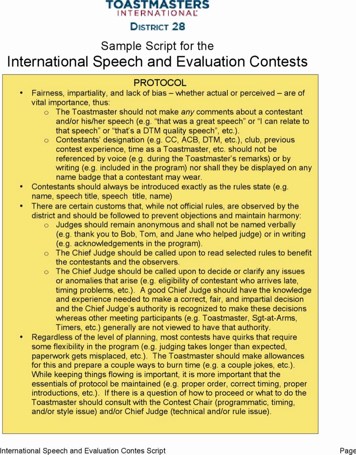Toastmasters Speech Evaluation form Unique toastmaster Evaluation Template