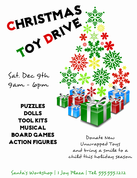 Toy Drive Flyer Template Free Awesome Christmas toy Drive Flyer Template 2 Free View R Image