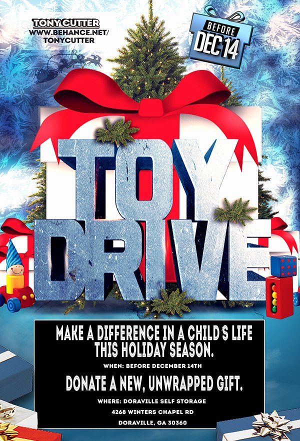 Toy Drive Flyer Template Free Awesome toy Drive 3d Flyer On Behance