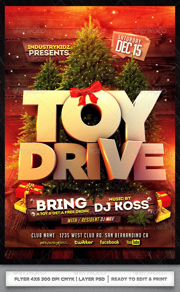 Toy Drive Flyer Template Free Best Of toy Drive Xmas Flyer Template Psd by Audioneptune On Deviantart