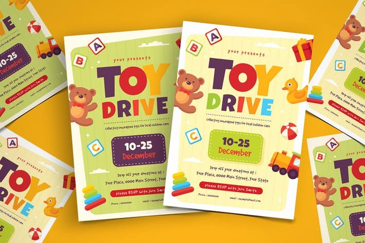 Toy Drive Flyer Template Free Elegant toy Drive Flyer Template by Vynetta On Envato Elements