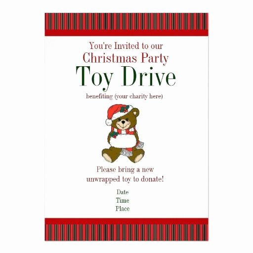 Toy Drive Flyer Template Free Fresh Christmas Party Holiday toy Drive Invitations