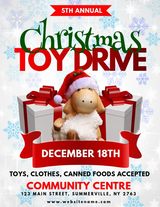 Toy Drive Flyer Template Free Inspirational Christmas toy Drive Flyer Template