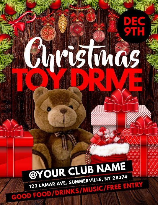 Toy Drive Flyer Template Free Lovely Christmas toy Drive Flyer Template