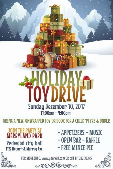 Toy Drive Flyer Template Free Luxury Holiday toy Drive Poster Template