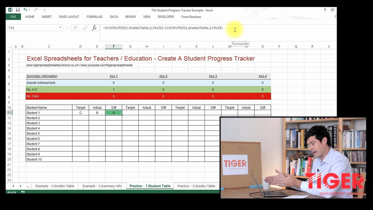 Tracking Student Progress Template Awesome Excel for Teachers Student Progress Tracker Part 1 Of 3 Convert Grades to Numbers Using