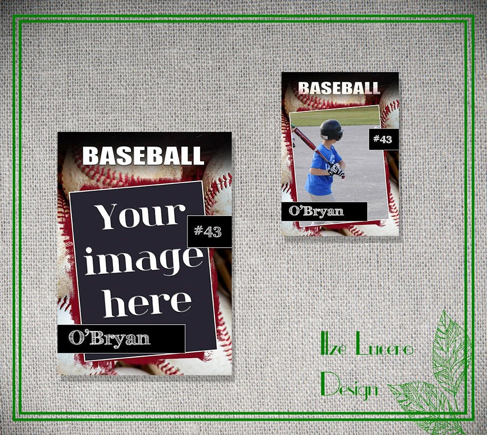 Trading Card Template Photoshop Awesome Psd Baseball Trading Card Template by Ilzesdesigns On Etsy