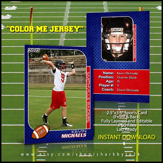 Trading Card Template Photoshop Best Of 2017 Football Sports Trading Card Template for Shop Color