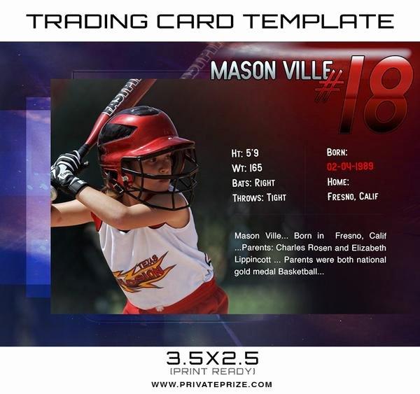 Trading Card Template Photoshop Elegant Mason Sports Trading Card Template