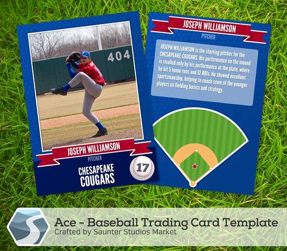 "Trading Card Template Photoshop Fresh Ace Baseball Trading Card 2 5"" X 3 5"" Shop Template for Designers Graphers"