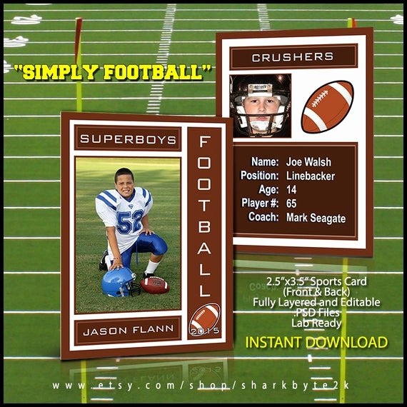Trading Card Template Photoshop Lovely 2019 Football Sports Trading Card Template for Shop