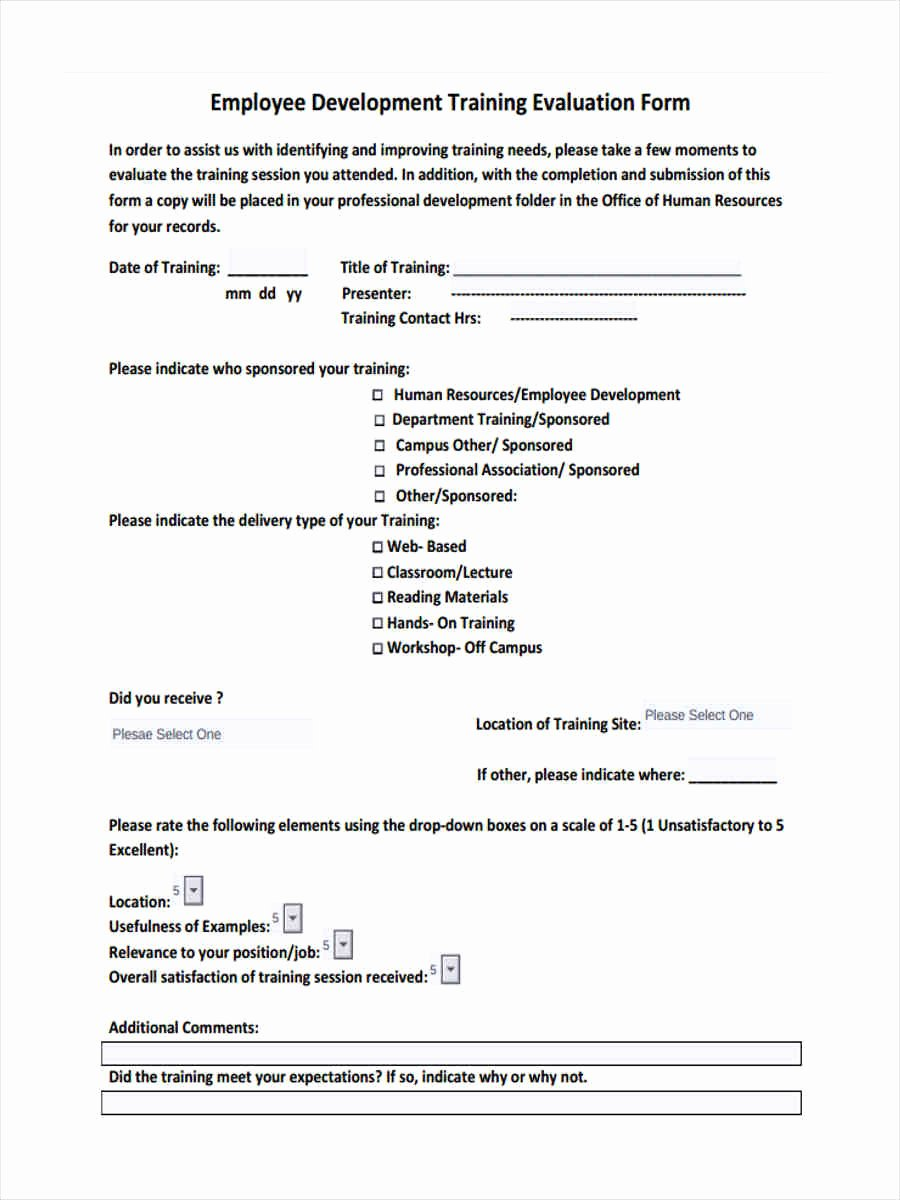 Training Feedback form for Employees Inspirational Free 15 Training Feedback forms