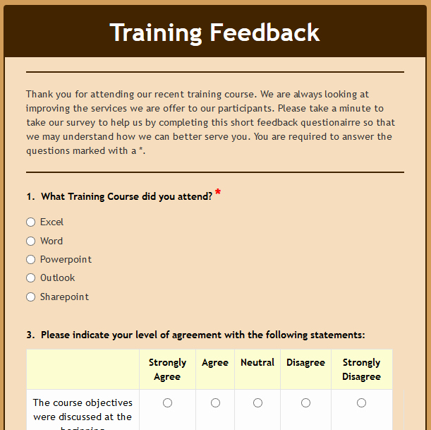 Training Feedback form for Employees Lovely formwize Examples