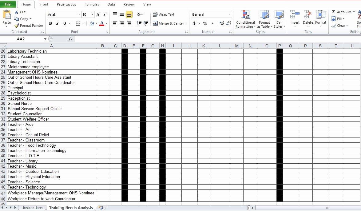Training Needs Analysis Template Beautiful Training Needs Analysis Template Free Excel Tmp – Kukkoblock Templates