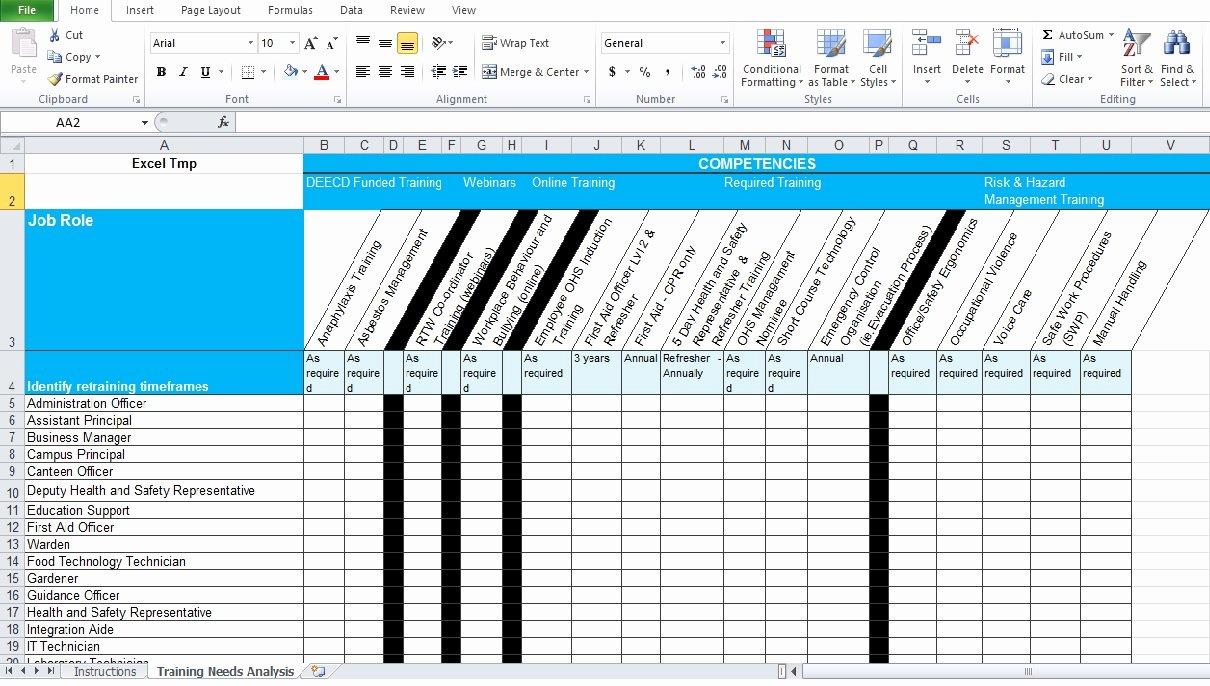 Training Needs Analysis Template New Training Needs Analysis Template Free Excel Tmp