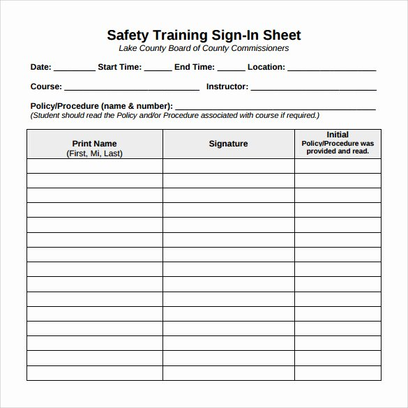 Training Sign Off Sheet Template Awesome Sample Training Sign In Sheet 13 Examples & format