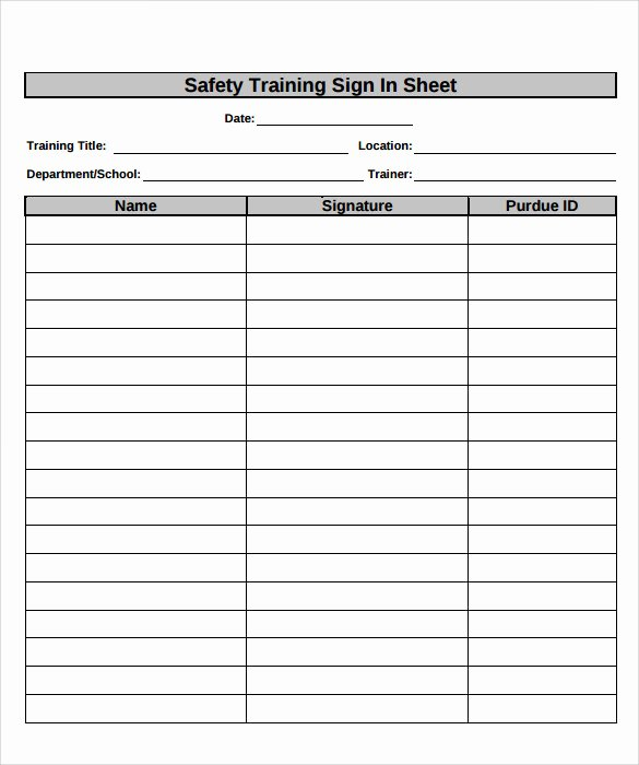 Training Sign Off Sheet Templates New Sample Training Sign In Sheet 17 Documents In Pdf