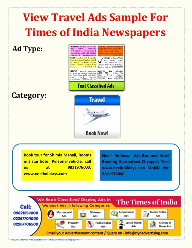 Travel Agency Advertising Samples Best Of Book Line Travel Agent Agency Hotel Advertisement In Times Of India…