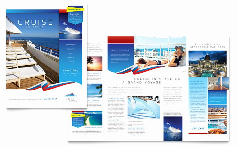 Travel Brochure Template Free Awesome Cruise Travel Brochure Template Word & Publisher