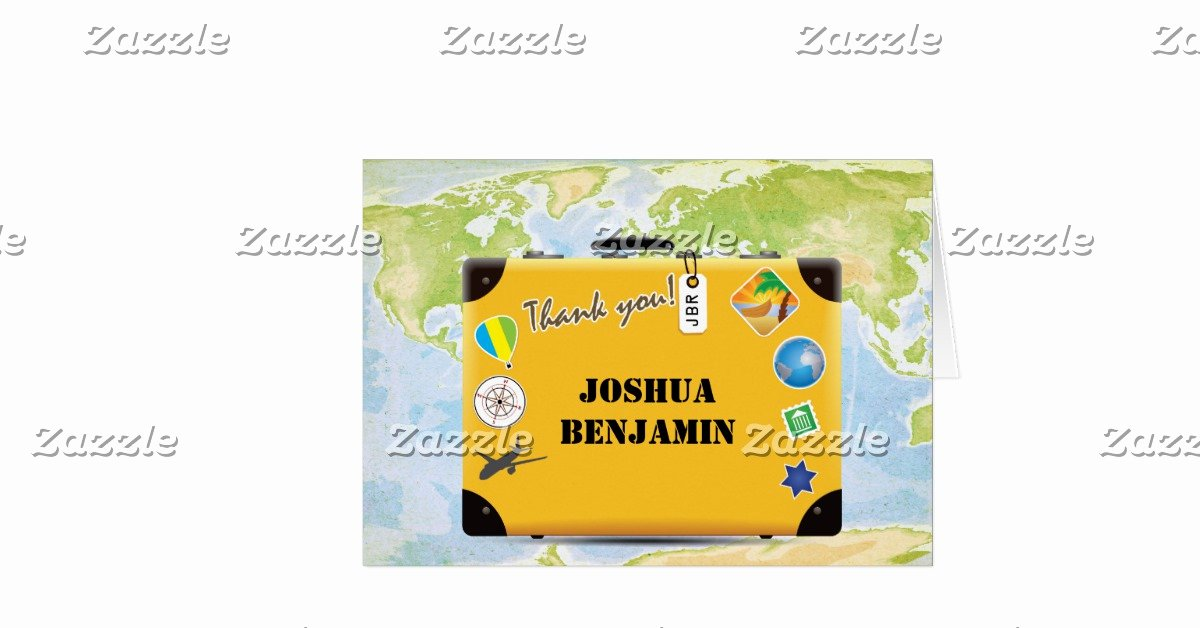 Travel themed Thank You Cards Awesome Suitcase World Travel themed Thank You Stationery Note Card