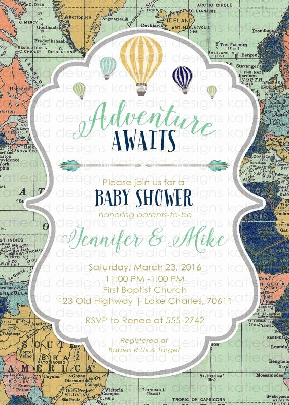 Travel themed Thank You Cards Best Of Adventure Awaits Baby Shower Invitation World Map Hot Air Balloon Travel theme Gender Neutral