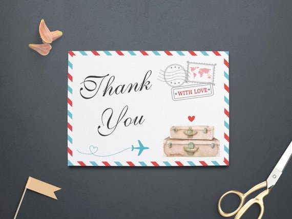 Travel themed Thank You Cards Lovely Travel Thank You Card Thank You Note Baby Shower by Violinevents