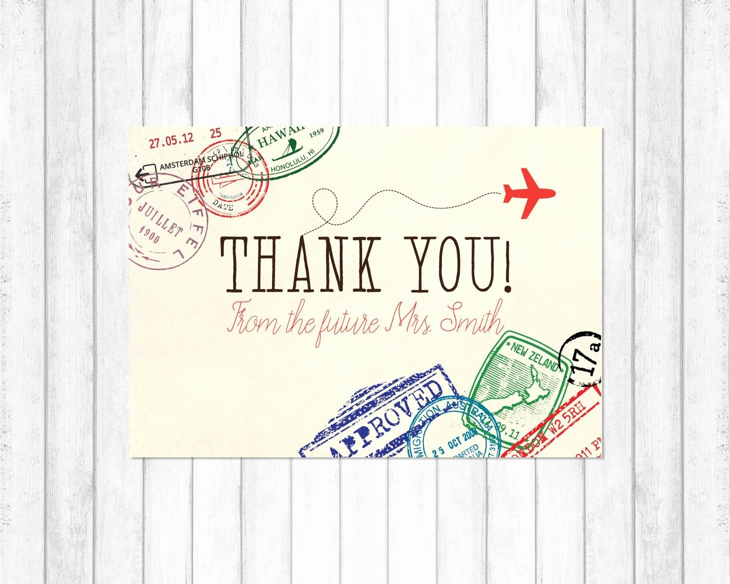 Travel themed Thank You Cards New Travel Thank You Card Travel Bridal Shower Invitation