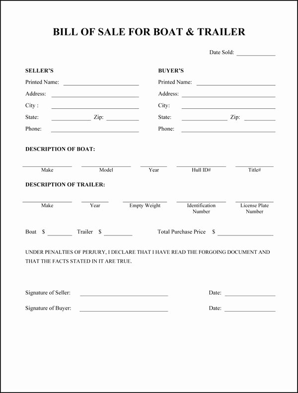 Travel Trailer Bill Of Sale Awesome Free Printable Rv Bill Of Sale form form Generic