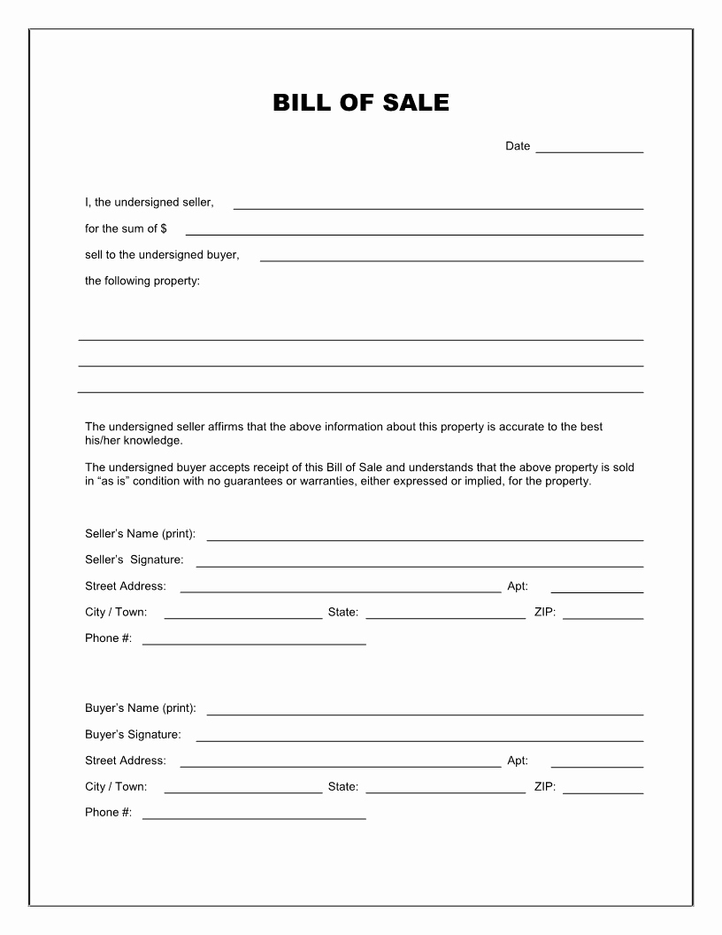 Travel Trailer Bill Of Sale Inspirational Free Printable Printable Bill Of Sale for Travel Trailer form Generic