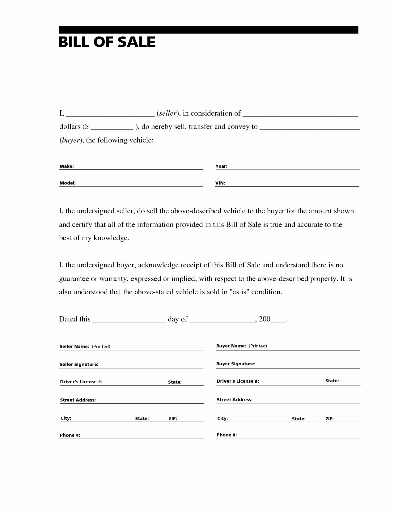 Travel Trailer Bill Of Sale Lovely Free Printable Free Car Bill Of Sale Template form Generic