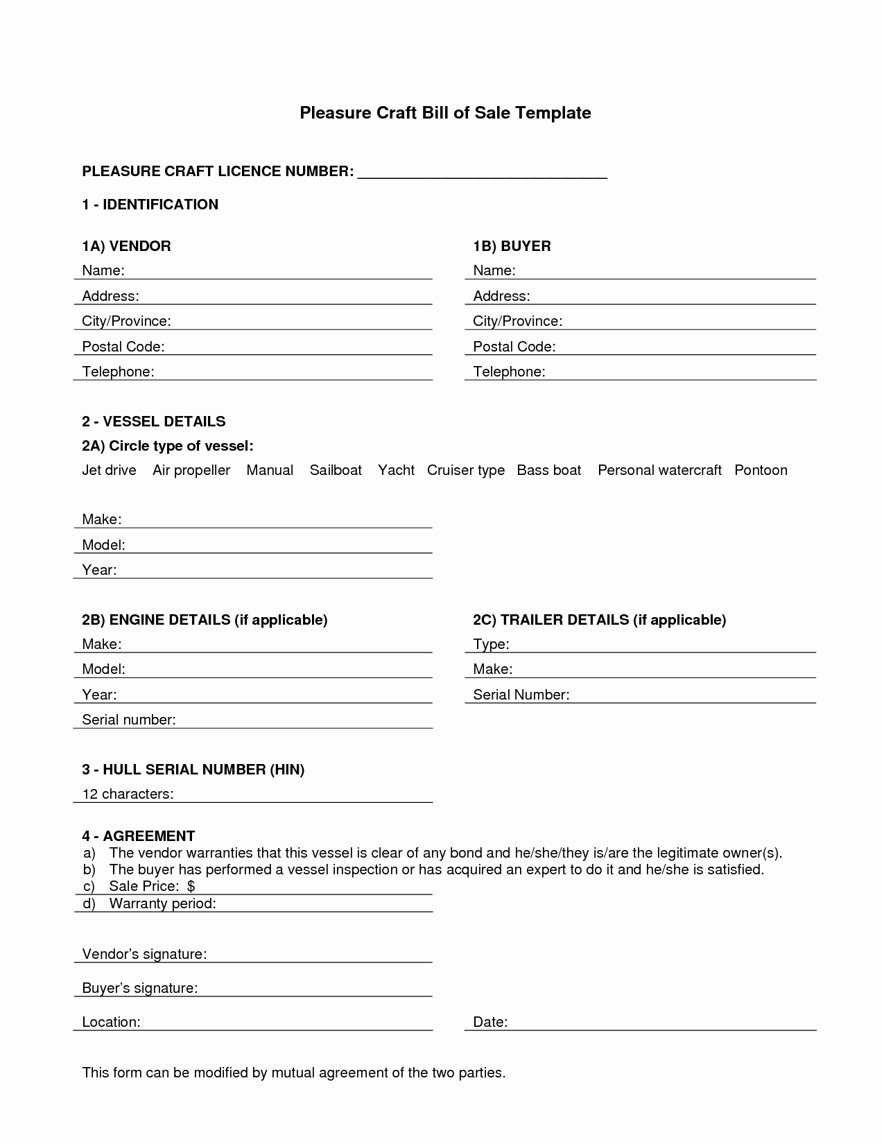 Travel Trailer Bill Of Sale New Camper Bill Sale form Free Free Printable Documents