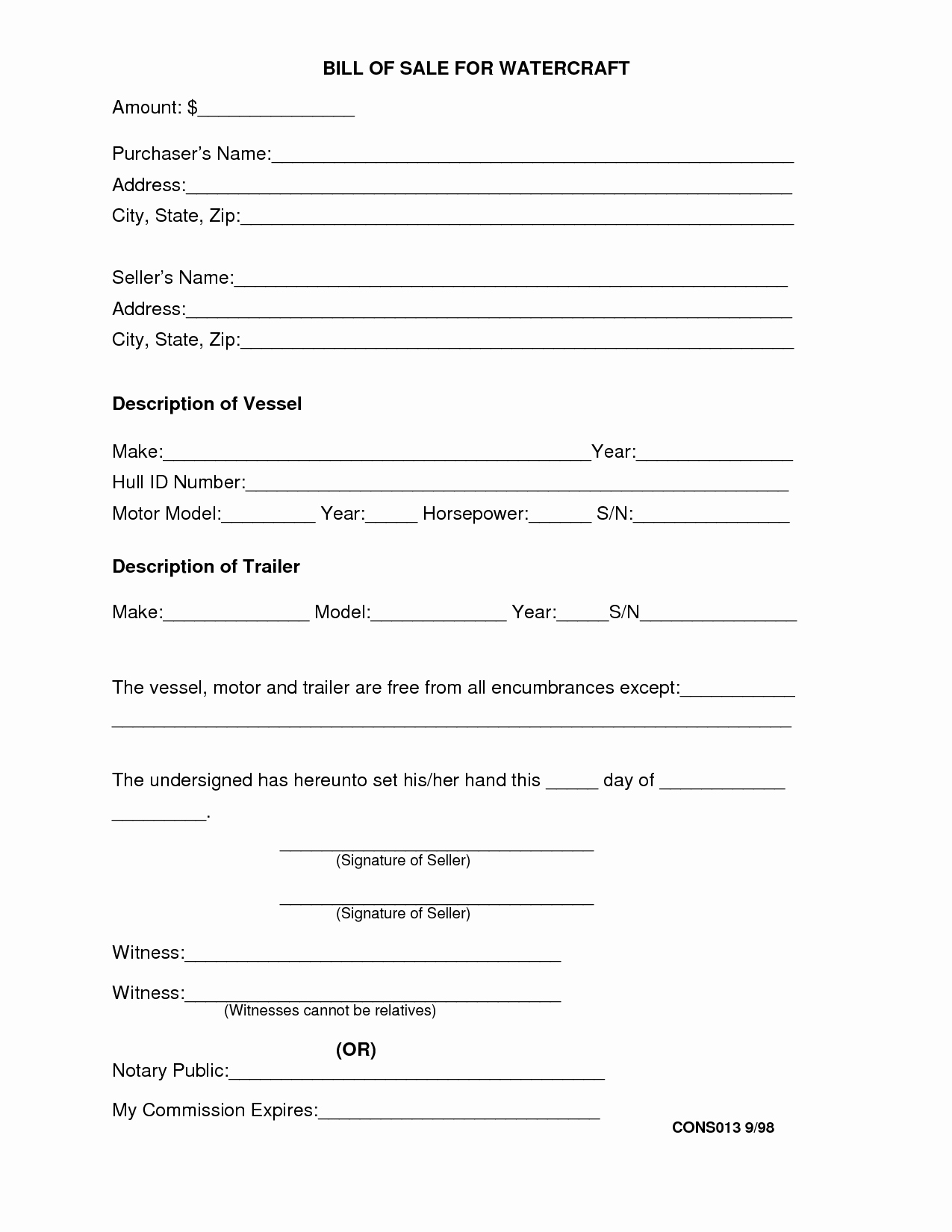 travel trailer bill of sale form