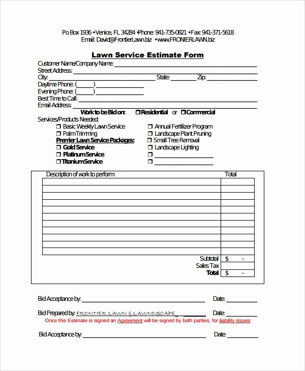 Tree Removal Contract Template Lovely Sample Service Estimate Template 7 Free Documents