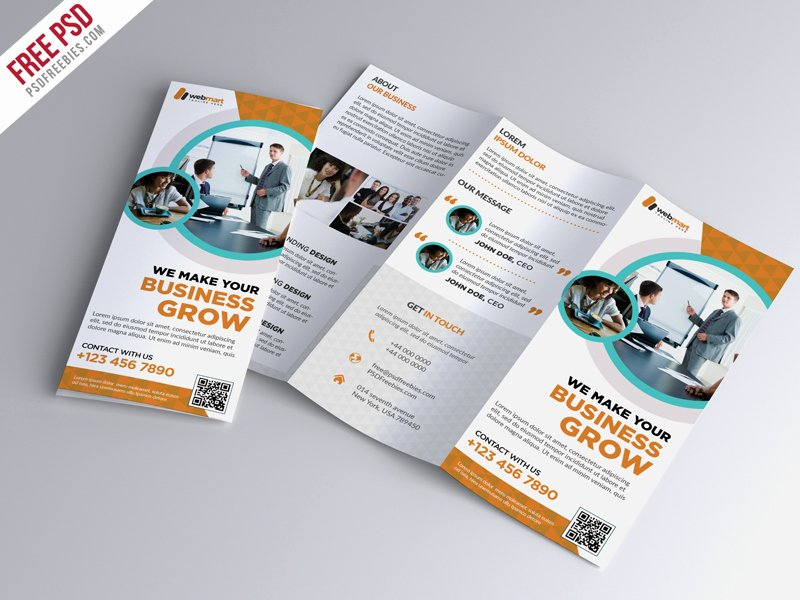 Tri Fold Brochure Psd Template Beautiful Trifold Brochure Template Free Psd