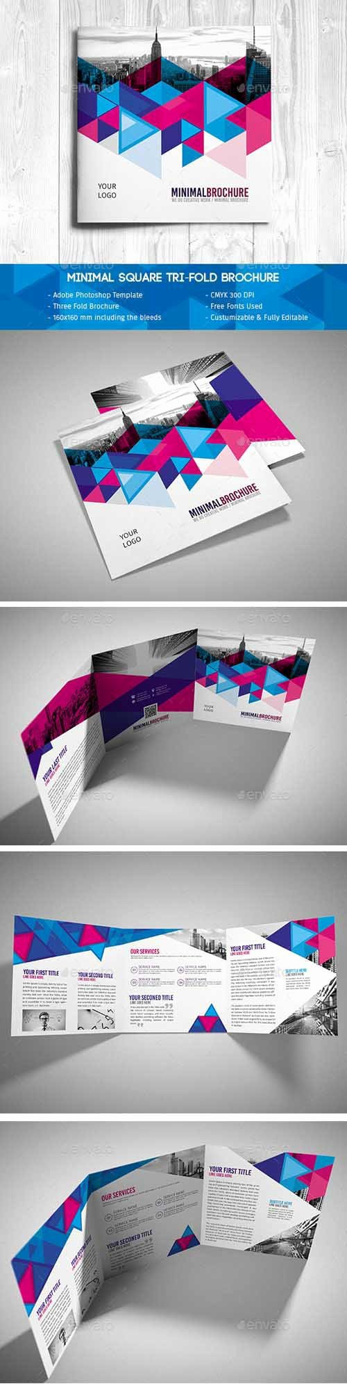 Tri Fold Brochure Psd Template Lovely Minimal Square Tri Fold Brochure Psd Template Psd Templates Free