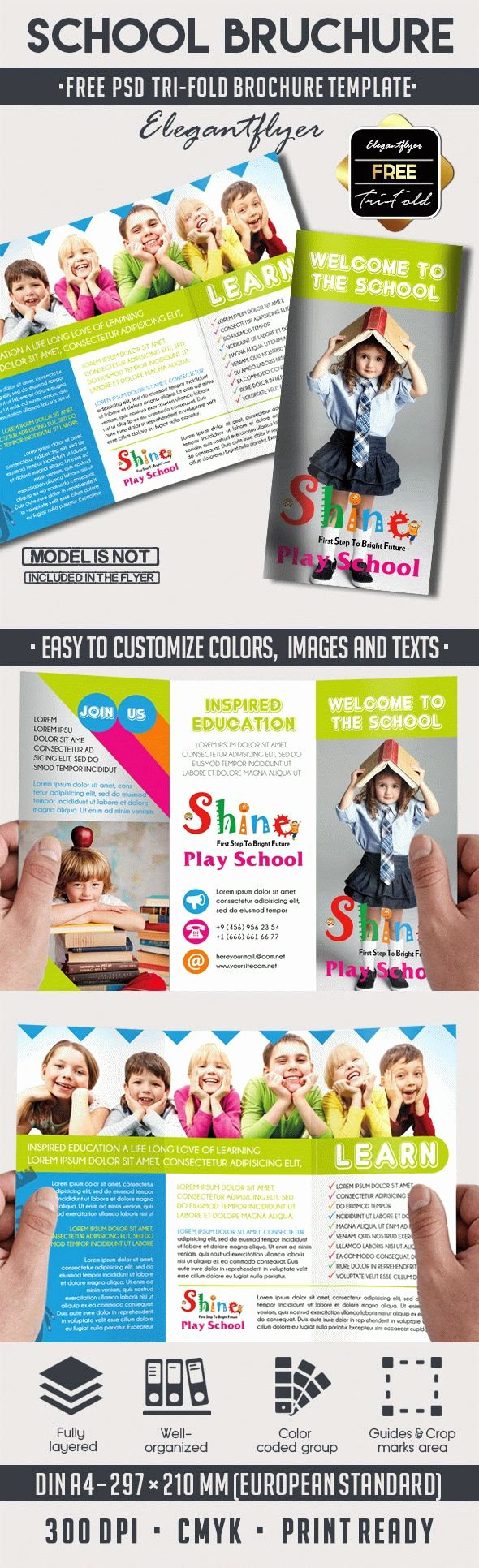 Tri Fold Brochure Psd Template Luxury School – Free Psd Tri Fold Psd Brochure Template – by Elegantflyer