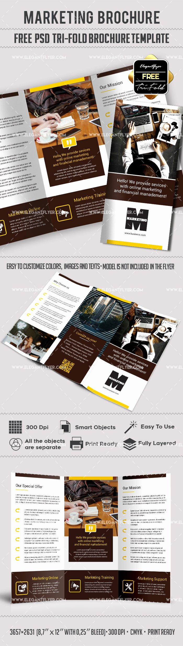 Tri Fold Brochure Psd Template New Marketing – Free Tri Fold Psd Brochure Template – by Elegantflyer