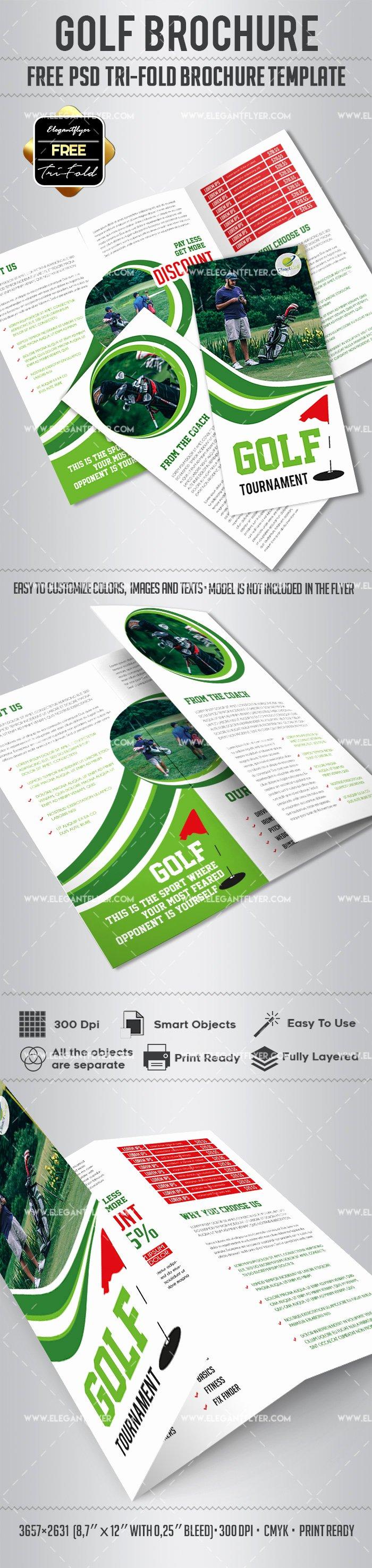 Tri Fold Brochure Template Psd Beautiful Golf – Free Psd Tri Fold Psd Brochure Template – by Elegantflyer