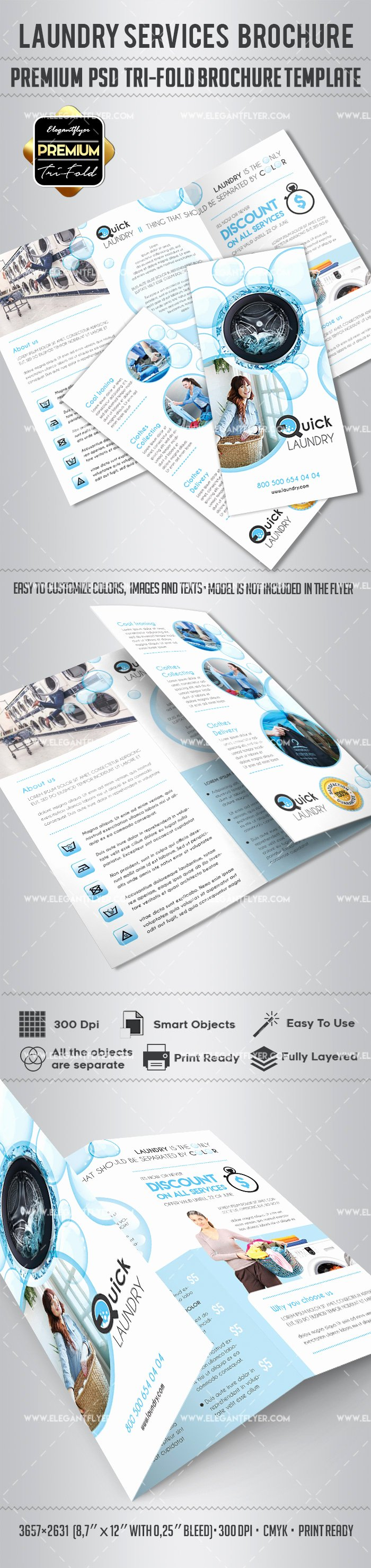 Tri Fold Brochure Template Psd Best Of Tri Fold Psd Brochure for Laundry Services – by Elegantflyer